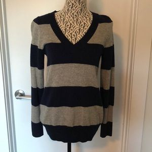 ❄️J Crew Navy & Gray Striped Cashmere Sweater❄️